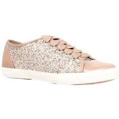 Carvela Jasper Glitter Trainers ($59) ❤ liked on Polyvore featuring shoes, sneakers, flats, gold, gold glitter sneakers, flat pumps, canvas sneakers, flat sneakers and glitter shoes