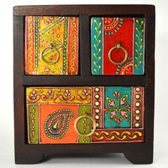 3 Drawer Chest, hand-painted wooden box with drawers Painted Wooden Boxes, Funky Painted Furniture, Painting Wooden Furniture, Painted Chairs, Painting On Wood, Modern Furniture, Furniture Design, Woodworking Box, Youtube Woodworking