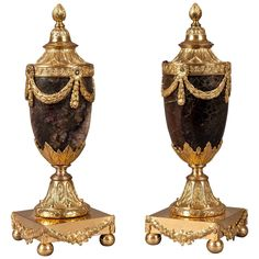 Pair 18th Century English Gilt and Blue John Stone Vases and Candle Holders 1775