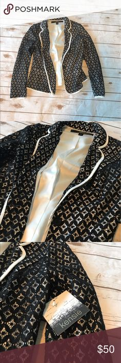 Kensie - Black & White Blazer. Kensie - Black & White Blazer. New with tags. Casual blazer lace type print. Black overlay design. White pinstripes on arms. Kensie Jackets & Coats Blazers