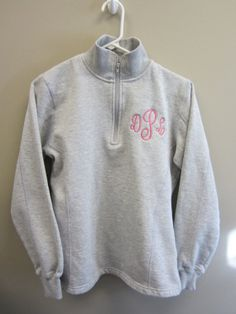Monogrammed Half Zip Sweatshirt with an open hem on by monogram4u, $38.99. I want the sweatshirt in pink with navy blue monogram! Monogram Jacket, Monograms, Jewerly, Navy Blue, Zip, Trending Outfits, My Style, Sweatshirts, Sweaters
