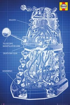 Haynes Dalek Blueprint - Dr Who  http://www.popartuk.com/tv/doctor-who/haynes-dalek-blueprint-fp3398-poster.asp  #DrWho #Dalek #TheDoctor #Blueprint #TV #Show #BBC #SciFi