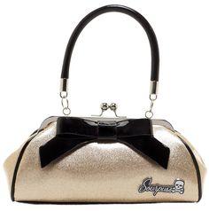 SOURPUSS FLOOZY PURSE GLITTER GOLD $44.00 #sourpuss #sourpussclothing #purse #handbag #glitter #pinup #rockabilly