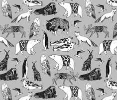 Arctic Animals - Slate by Andrea Lauren fabric by andrea_lauren on Spoonflower - custom fabric