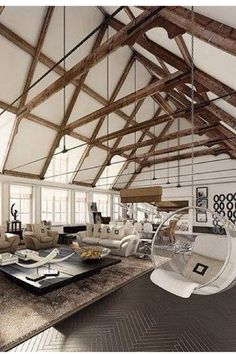 Loft loungeroom with exposed beams