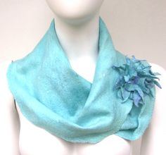 Aqua Cobweb Felted Cowl and Felt Flower Pin by juliaheartfelt