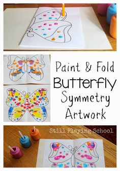 Preschool Straw Painting: Fine Motor Butterflies Symmetry Art for Kids from Still Playing School - Preschool Children Activities Bug Activities, Spring Activities, Spring Preschool Theme, Physical Activities, Butterfly Crafts, Butterfly Art, Butterfly Painting, Kindergarten Art, Preschool Crafts