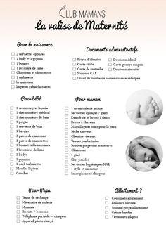 liste pour la valise de maternité complète