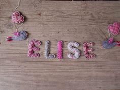 """Prénom ou lettres pour décoration chambre bébé/enfant : modèle """"Pink romantique 2"""" : Accessoires de maison par floriane-s"""