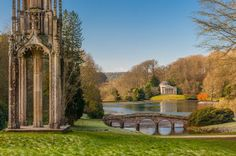 Palladian Bridge, Pantheon, and gothic tower at Stourhead, Wiltshire, England. A perfect example from the landscape movement, and still perfectly preserved. A lake, two classical temples, a Pantheon and even a gothic ruin are all to be found around the grounds.