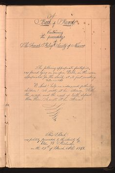 Minutes of the Nauvoo Relief Society, founded by Latter-day Saint (Mormon) leader Joseph Smith with his wife, Emma Hale Smith, as president. www.josephsmithpapers.org