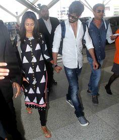 Shahid Kapoor and Mira Rajput at Delhi airport. #Bollywood #Fashion #Style #Handsome #ShahidKiShaadi #Beauty