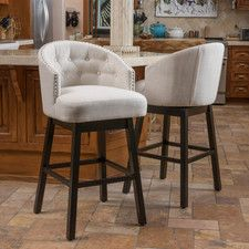 "Jeremy 29"" Swivel Bar Stool with Cushion (Set of 2)"