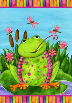 Place this funky, fun frog flag in the garden or flowerbed for some fanciful flair. As the flag's cheeky croaker picture sways in the wind, it lends a sense of whimsical wonder to any yard. Clipart, Garden Flag Holder, Black Frog, Frog Illustration, Frog Statues, Garden Frogs, Garden Figurines, Cute Frogs, Funny Frogs