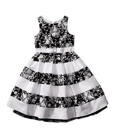 Another great find on #zulily! Black & White Floral Stripe A-Line Dress - Girls by Bloome #zulilyfinds