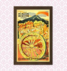 Sicily Travel Poster Travel Prints Sicily by VintageWallGraphics Dorm Posters, Travel Posters, Vintage Italian Posters, Poster Vintage, Sicily Travel, Travel Wall Art, Italy Art, Poster Prints, Art Prints