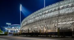 the exterior facade plays on opacity and translucency- offering glimpses in and out of the stadium.