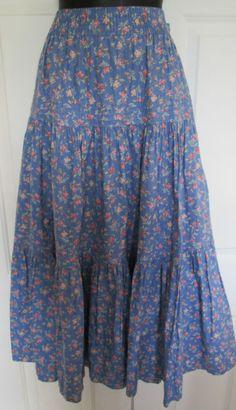 Vintage Laura Ashley rare XL cotton summer gypsy tiered skirt boho festival 70's | eBay