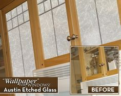We used versatile Austin Etched Glass film on these kitchen cabinets - BEAUTIFUL! Glass Cabinet Doors, Sliding Glass Door, Etched Glass, Glass Etching, Window Film, Glass Film, Rice Paper, Creative Decor, Entry Doors