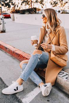 Fashion Jackson Wearing Everlane Camel Coat White Sweater Boyish Ripped Jeans Veja V10 Sneakers Chanel 19 Small Beige Handbag