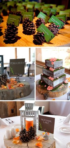 Since we will be at a tree farm (hopefully) I want to do the table assignments in mini pine cones.  I also like how instead of table numbers they did a favorite location...