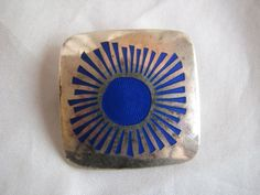 Vintage sterling silver and enamel brooch pin. #Finland