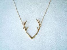 18K Gold Deer Antler Necklace  Gold Antler by ChillsJewellery