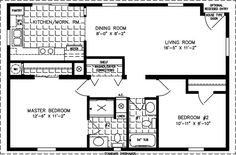 800 sq ft house plan Manufactured Home Floor Plans 800 sq ft - 999 sq ft Small Floor Plans, Small House Plans, House Floor Plans, The Plan, How To Plan, 800 Sq Ft House, Manufactured Homes Floor Plans, Cottage Plan, Bungalow