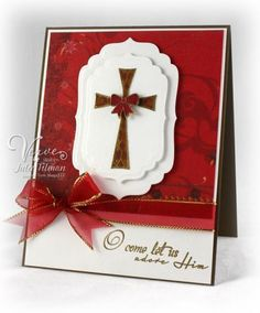 Beautiful Christmas card with cross and ribbon