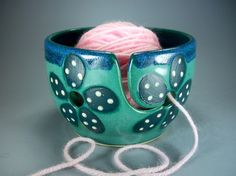 Yarn Bowl Handmade Stoneware Pottery with by JulieKnowlesPottery