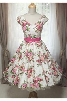 LOREN retro šaty smetanové s růžemi