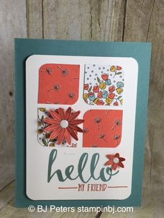 """Hello"" is a limited time FREE stamp set during Stampin' Up!'s Sale-a-Bration! Don't delay. Check out the details of this fabulous promotion on my blog; www.stampinbj.com (scheduled via http://www.tailwindapp.com?utm_source=pinterest&utm_medium=twpin&utm_content=post27167122&utm_campaign=scheduler_attribution)"