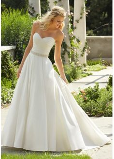 Elegant Simple Style Satin Ballgown Sweetheart Beaded And Ruffles Sweep Train Wedding Dress