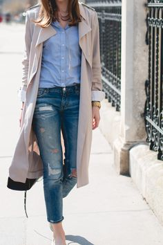 Beige trench coat. | @andwhatelse
