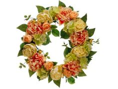 """Silk Plants Direct Peony and Hydrangea Wreath (Pack of 4) - Peach Green by Silk Plants Direct. $151.99. Color: PeachGreen. Size: 22"""". Silk Plants Direct specializes in manufacturing, design and supply of the most life-like, premium quality artificial plants, trees, flowers, arrangements, topiaries and containers for home, office and commercial use. Our Peony and Hydrangea Wreath includes the following: Size:22"""" Color:Peach Green"""