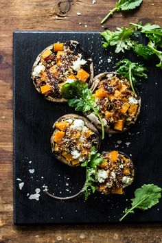 butternut squash stuffed mushrooms with goat cheese + balsamic glaze - The Clever Carrot
