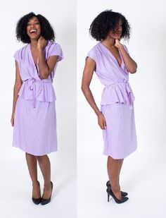 Vintage 1980's Light Purple Striped Day Dress by BeulahLouiseVintage, $39.00