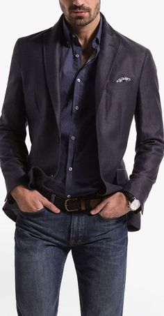 casual inspiration with dark wash denim brown leather belt navy and white polk dot button up shirt with a charcoal blazer patterned silk pocket square and watch Mens Fashion Blazer, Mens Fashion Blog, Fashion Mode, Suit Fashion, Male Fashion, Fashion Ideas, Fashion Stores, Fashion Hats, Fashion Design
