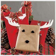 reindeer, gift wrap, christmas
