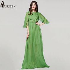 1a2b8a8fd00 Luxury Dress 2017 New Fashion Spring Summer Casual Flare Sleeve Swing  Elegant Green Floor-Length Design Maxi Dress