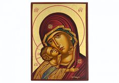 (Holy Virgin Mary) Panagia Glikofilousa Byzantine wooden icon on canvas Byzantine Art, Virgin Mary, Holi, Museum, Canvas, Tela, Blessed Virgin Mary, Holi Celebration, Canvases