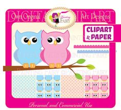 SALE OFF 25% Cliparts Lovely Pink Blue owl clip art Hoot digital clipart designer layout images personal & commercial use pf00014-2 digital item instant download