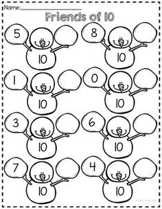 Snowman themed number bond printables for numbers to Includes a sheet for identifying the missing part as well as missing whole. Preschool Math, Teaching Kindergarten, Math Classroom, Math Activities, Kindergarten Worksheets, Winter Activities, Math Games, Math Work, Fun Math
