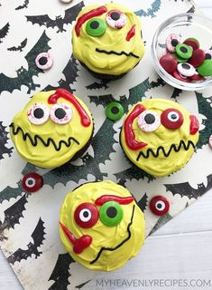 Make these fun and creepy zombie cupcakes for your halloween party. Zombie Cupcakes 1 box of chocolate cake mix (any brand + tub of white frostingYellow gel food coloringGreen gel food cupcake linersBlack Wicked Cupcakes, Zombie Cupcakes, Ghost Cupcakes, Pumpkin Cupcakes, Yummy Cupcakes, Halloween Desserts, Halloween Cupcakes, Halloween Treats, Halloween Baking