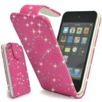 GLITZY GIZMOS PINK GLITTER PU LEATHER FLIP CASE COVER POUCH FOR APPLE iPOD TOUCH 4 4G 4th GENERATION  From GLITZY GIZMOS  Price:	£7.99