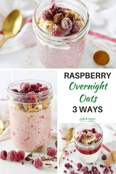 Looking for a healthy and delicious breakfast? Check out these three recipes for raspberry overnight oats! And they can be made low-sugar and dairy-free!