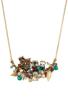 Betsey Johnson Owl Faceted Bead Frontal Necklace