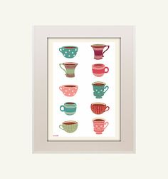 Cup printable, cup printable,cup illustration, cup tea ,cup coffee,art print, art home print, living room, print illustration, kitchen print