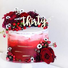 Thirty, flirty and fabulous! This custom deep red ombré cake with fresh flowers and berries is all those things I think! In fact im kind of in love with these colours right now ❤️❤️ . #cake #layercake #petitcake #prettycake #birthdaycake #birthdayparty #sweettreat #hightea #afternoontea #baking #lovebaking #houstonblogger #houstonfoodie #houstonbaker #houstonbakery #houstoncakes #floralcake #thirty #thirtyflirty #cakeporm #100layercake #greenweddingshoes