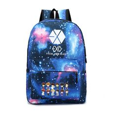 Kpop Idol EXO boy band chibi anime manga style backpack school bag rucksack books